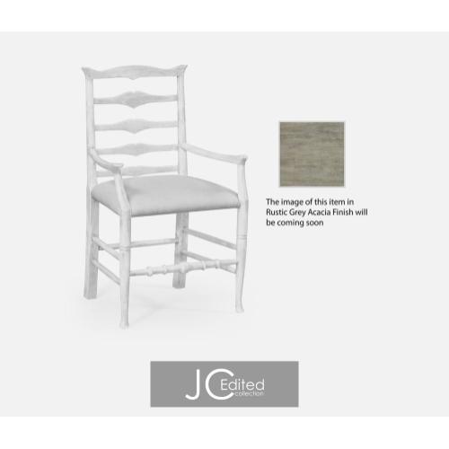 Rustic grey ladder back armchair