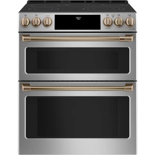 """Cafe - Café™ 30"""" Smart Slide-In, Front-Control, Radiant and Convection Double-Oven Range"""