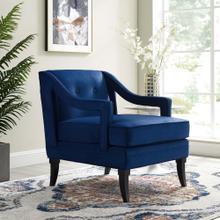 Concur Button Tufted Performance Velvet Armchair in Navy