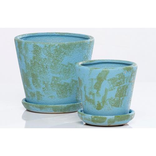 Camo Carved Petit Pots w attchd saucer set of 2min4 sets camo ocean