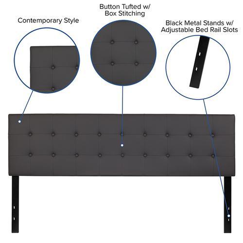 Lennox Tufted Upholstered King Size Headboard in Gray Vinyl