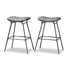 See Details - Baxton Studio Jette Modern and Contemporary Grey Fabric Upholstered Dark Grey Metal 2-Piece Bar Stool Set