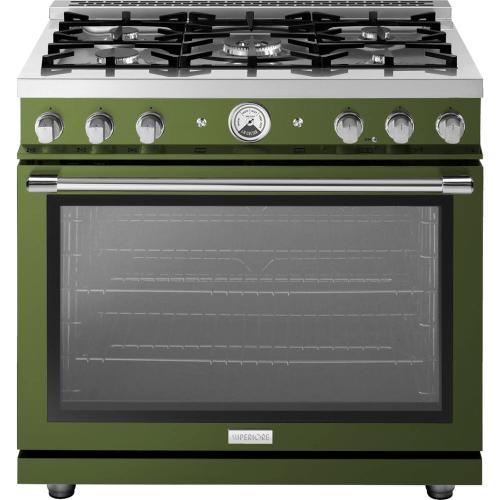 "Range LA CUCINA 36"" Classic Stellar Finishing Olive 5 gas, gas oven"
