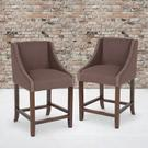 """Carmel Series 24"""" High Transitional Walnut Counter Height Stool with Nail Trim in Brown Fabric, Set of 2 Product Image"""