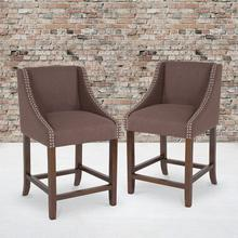 "Carmel Series 24"" High Transitional Walnut Counter Height Stool with Nail Trim in Brown Fabric, Set of 2"