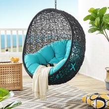 Encase Swing Outdoor Patio Lounge Chair Without Stand in Black Turquoise
