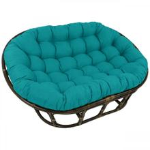 Bali Mamasan Rattan Double Papasan Chair with Solid Outdoor Fabric Cushion - Walnut/Aqua Blue