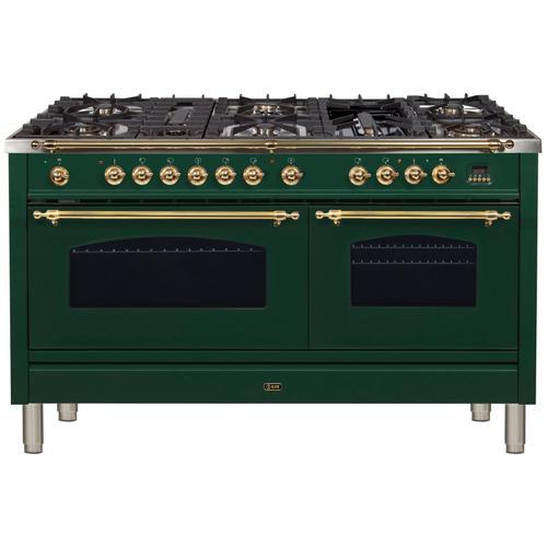 Nostalgie 60 Inch Dual Fuel Liquid Propane Freestanding Range in Emerald Green with Brass Trim