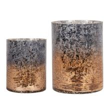 Lia Crackled Glass Gold & Smoke Candle Holders-Set2
