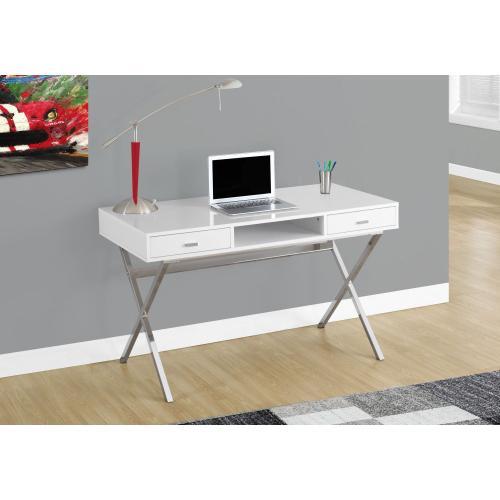 "Gallery - COMPUTER DESK - 48""L / GLOSSY WHITE / CHROME METAL"