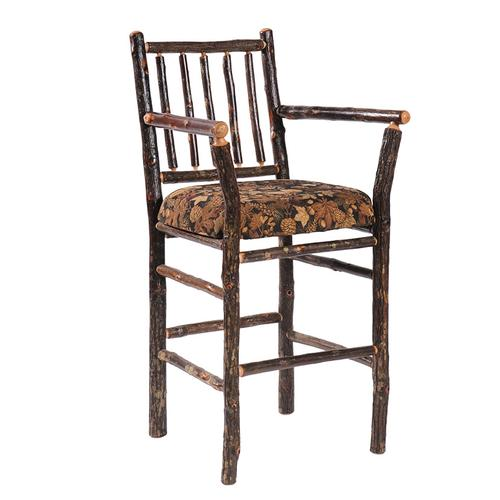 """Product Image - Barstool with Arms - 30"""" high - Natural Hickory - Standard Leather"""
