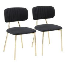 Bouton Chair - Set Of 2 - Gold Metal, Black Velvet