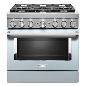 KitchenAid® 36'' Smart Commercial-Style Dual Fuel Range with 6 Burners - Misty Blue Product Image