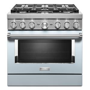 KitchenAidKitchenAid® 36'' Smart Commercial-Style Dual Fuel Range with 6 Burners - Misty Blue