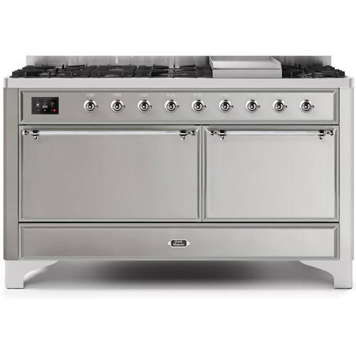 Ilve - Majestic II 60 Inch Dual Fuel Liquid Propane Freestanding Range in Stainless Steel with Chrome Trim