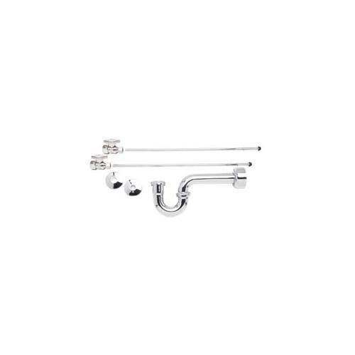 Mountain Plumbing - Lavatory Supply Kit - Brass Oval Handle with 1/4 Turn Ball Valve - Lead Free - Satin Chrome
