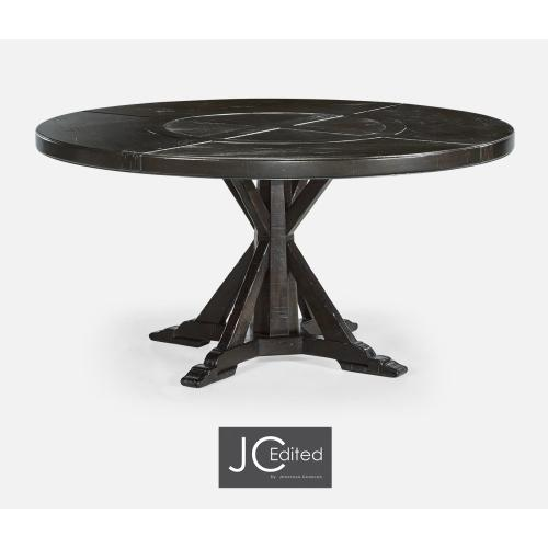 """60"""" Dark Ale Round Dining Table with Inbuilt Lazy Susan"""