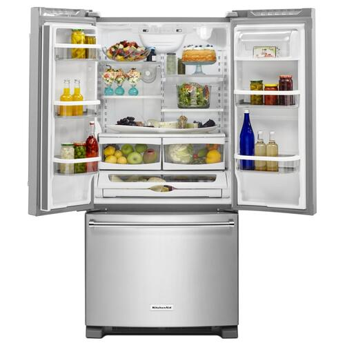 22 Cu. Ft. 33-Inch Width Standard Depth French Door Refrigerator with Interior Dispenser - Stainless Steel