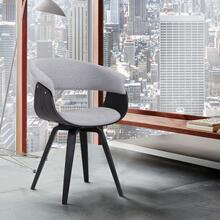 Summer Contemporary Dining Chair in Black Brush Wood Finish and Grey Fabric