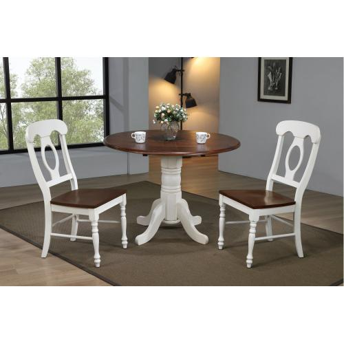Round Drop Leaf Dining Set w/Napoleon Chairs - Antique White with Chestnut Top