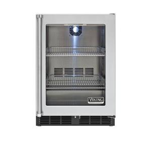 """Viking - 24"""" Undercounter Refrigerator, Clear Glass, Right Hinge/Left Handle"""