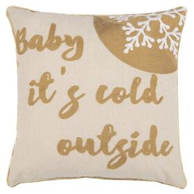 Cold Outside Pillow - Beige / Gold
