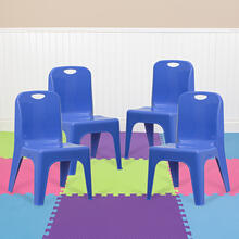 4 Pack Blue Plastic Stackable School Chair with Carrying Handle and 11'' Seat Height [4-YU-YCX-011-BLUE-GG]