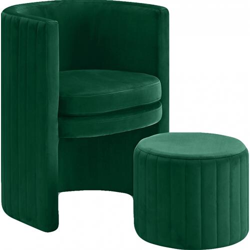"Selena Velvet Accent Chair and Ottoman Set - 25"" W x 22.5"" D x 30"" H"