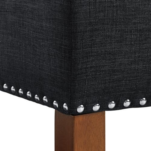 Hinged Top Button Tufted Storage Bed Bench in Charcoal Black