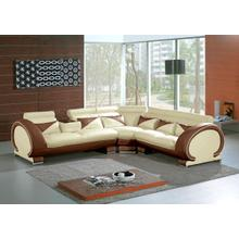 Divani Casa 7392 - Modern Beige & Brown Leather Sectional Sofa