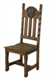 L.M.T. Rustic and Western Imports - Dining Chair W/Rope&Star Wood Seat