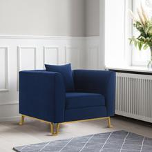 See Details - Everest Blue Fabric Upholstered Sofa Accent Chair with Brushed Gold Legs