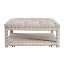 See Details - Beige Button Tufted Cocktail Ottoman