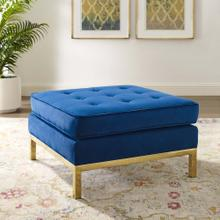 Loft Gold Stainless Steel Leg Performance Velvet Ottoman in Gold Navy
