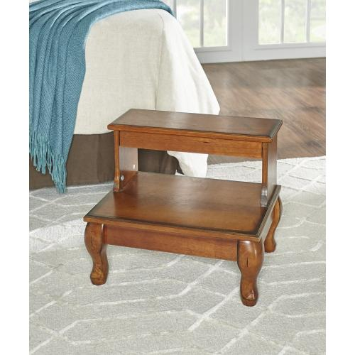 Bed Steps With Drawer, Lightly Distressed Antique Cherry