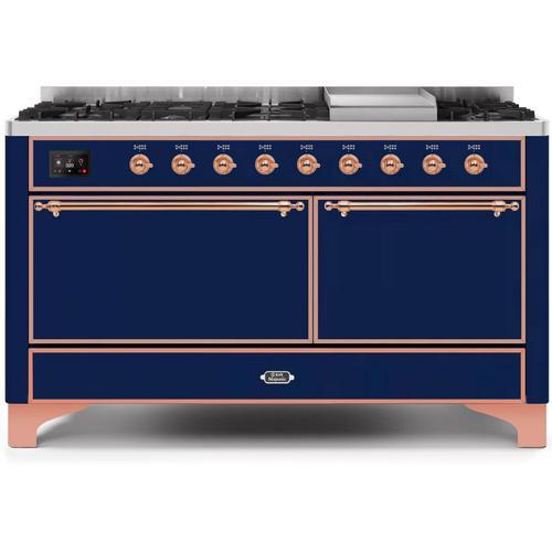 Ilve - Majestic II 60 Inch Dual Fuel Liquid Propane Freestanding Range in Blue with Copper Trim