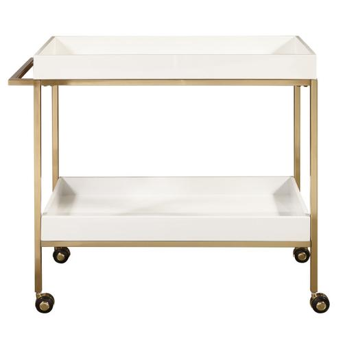 Brushed Gold & White Bar Cart