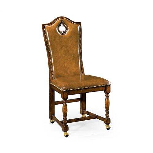 "High back playing card ""Spade"" side chair with medium antique chestnut leather"