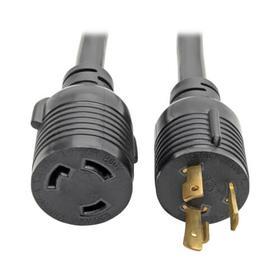 Power Extension Cord/Splitter, NEMA L6-30P to 2x NEMA L6-30R Y Splitter, Heavy-Duty - 30A, 250V, 10 AWG, 1 ft. (0.31 m), Black