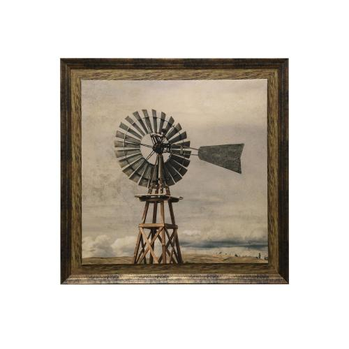 Style Craft - Oklahoma Windmill Print Textured and Framed