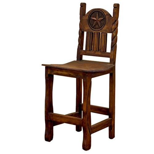 """L.M.T. Rustic and Western Imports - 30"""" Barstool W/Rope,Star &Wood Seat"""