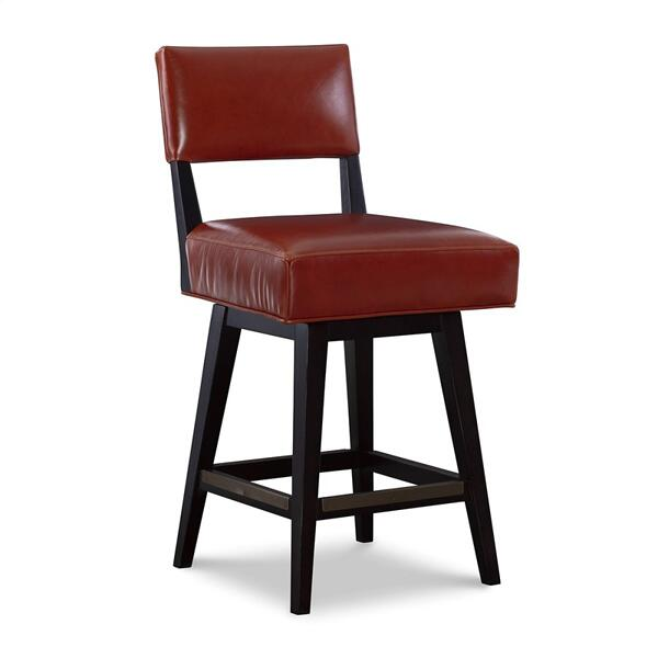 See Details - Leather Swivel Counter Stool