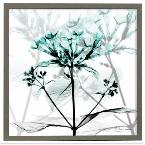 Style Craft - Crystalized Floral  Made in USA  Artist Print  Faux Wood Frame Under Glass  Attached Hanging Har