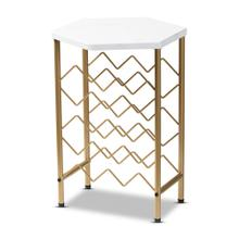 See Details - Baxton Studio Phoebe Modern and Contemporary Gold Finished Metal Wine Rack With Faux Marble Tabletop