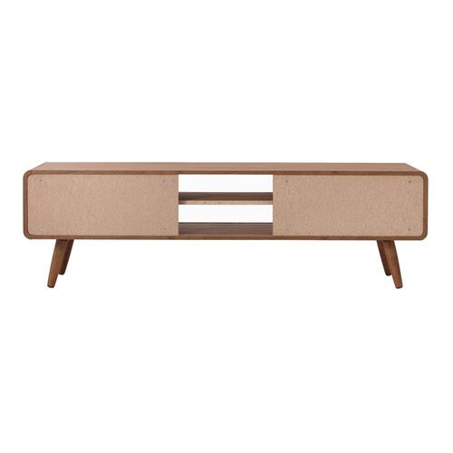 """Wilson 58"""" KD Slat Low TV Stand, Walnut (ASSEMBLY REQUIRED)"""