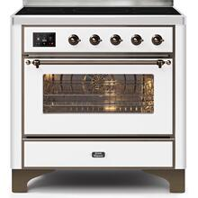 Majestic II 36 Inch Electric Freestanding Range in White with Bronze Trim