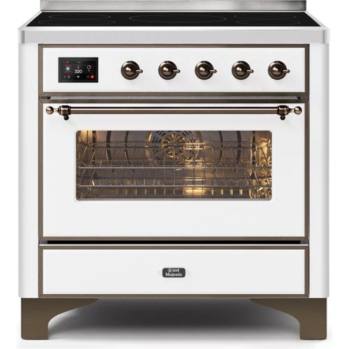 Ilve - Majestic II 36 Inch Electric Freestanding Range in White with Bronze Trim