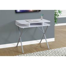 """See Details - COMPUTER DESK - 31""""L / WHITE TOP / SILVER METAL"""