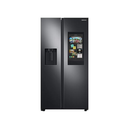 Samsung - 26.7 cu. ft. Large Capacity Side-by-Side Refrigerator with Touch Screen Family Hub™ in Black Stainless Steel