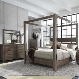 King Canopy Bed, Dresser & Mirror, Chest